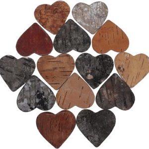 Corazones de madera abedul